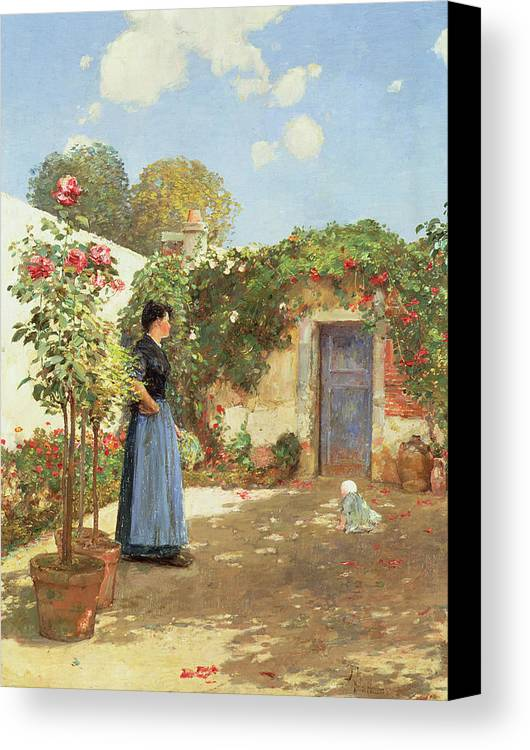 A Sunny Morning Canvas Print featuring the painting A Sunny Morning by Childe Hassam