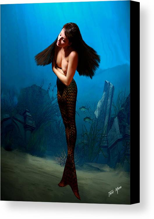 Mermaid Canvas Print featuring the painting A Temple Mermaid by Tray Mead