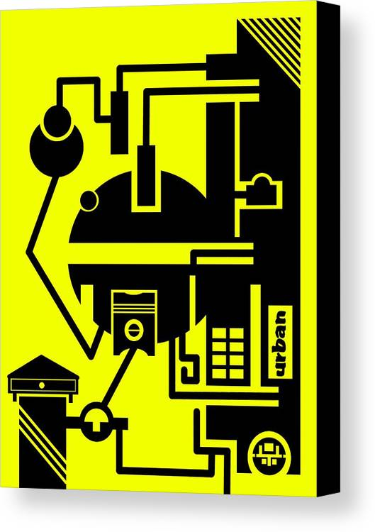 Contemporary Canvas Print featuring the digital art Abstract Urban 03 by Dar Geloni