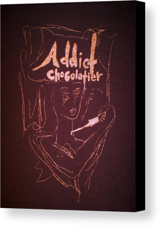 Dark Chocolate Canvas Print featuring the drawing Addict Chocolatier by Ayka Yasis