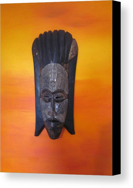 Mask Canvas Print featuring the painting African Mask by Niranjan Vaswani