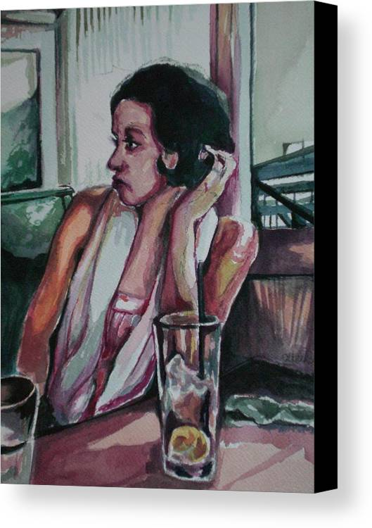 Canvas Print featuring the painting After Lunch What Then by Aleksandra Buha