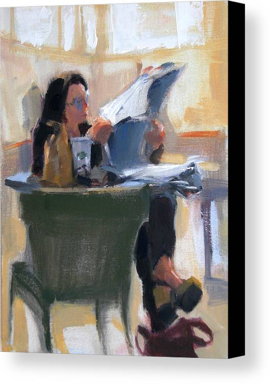 Figurative Canvas Print featuring the painting Afternoon Coffee Break by Merle Keller