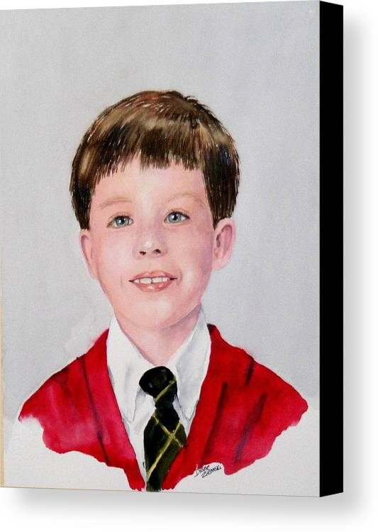 Canvas Print featuring the painting Aidan - Commissioned Portrait by Diane Ziemski