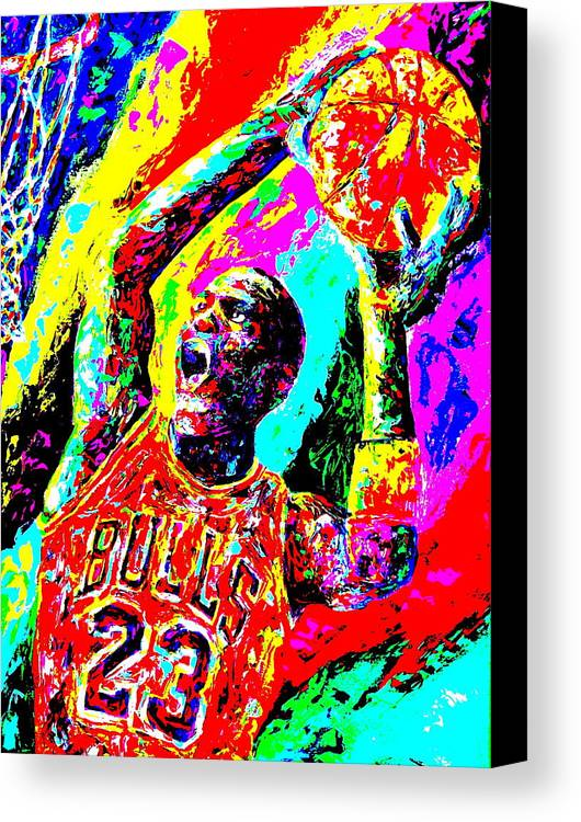 Air Jordan Canvas Print featuring the painting Air Jordan by Mike OBrien