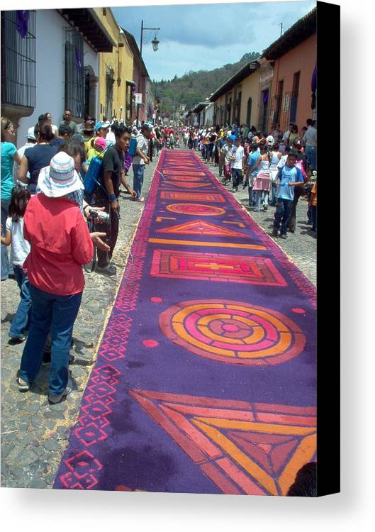 Guatemala Canvas Print featuring the photograph Alfombra In Purples by Lauris Burns