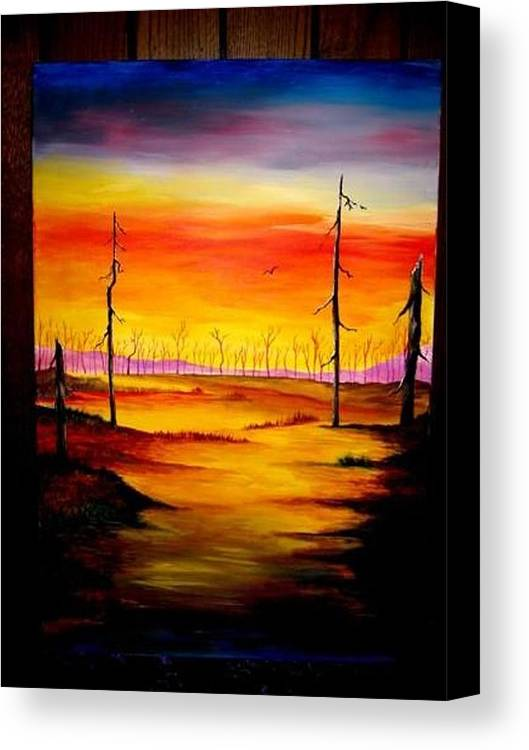 Landscape Canvas Print featuring the painting Alone by Glory Fraulein Wolfe