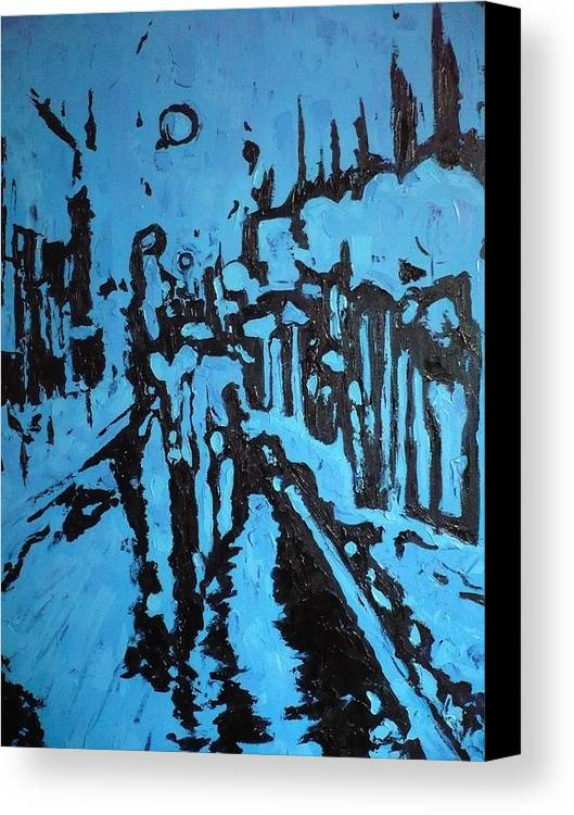 Street Canvas Print featuring the painting Amsterdam At Night by Ericka Herazo