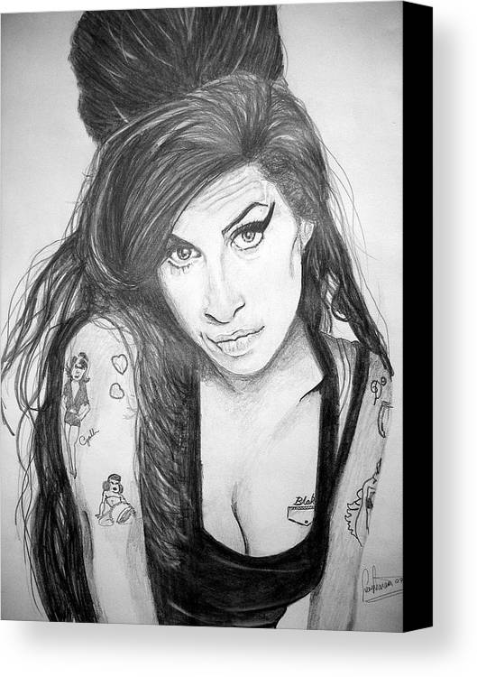 Celeb Portraits Canvas Print featuring the drawing Amy Winehouse by Sean Leonard
