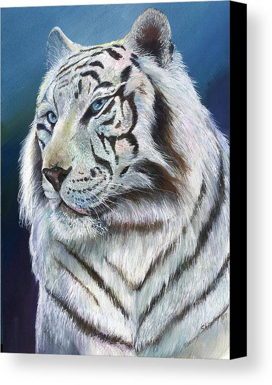 Big Cat Canvas Print featuring the painting Angel The White Tiger by Sherry Shipley