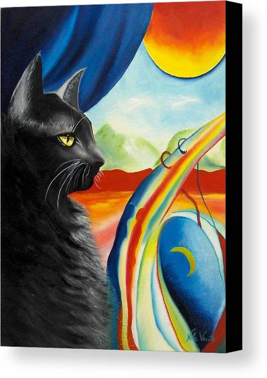 Surreal Cat Canvas Print featuring the painting Any Time by Nela Vicente