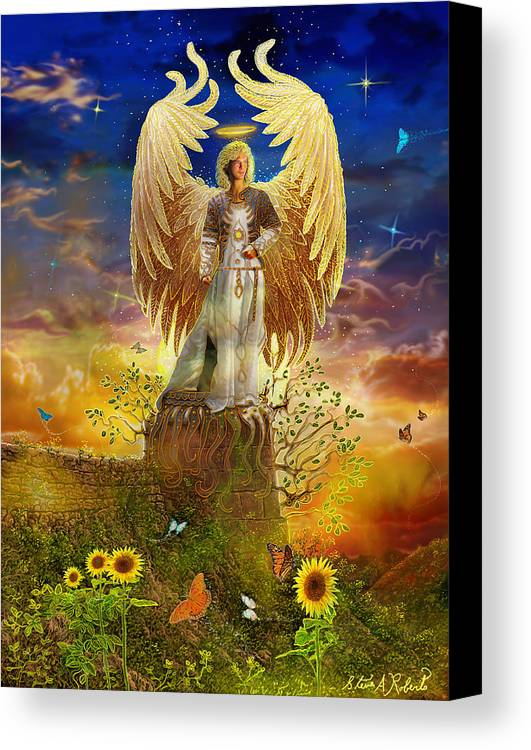 Angel Canvas Print featuring the painting Archangel Uriel by Steve Roberts