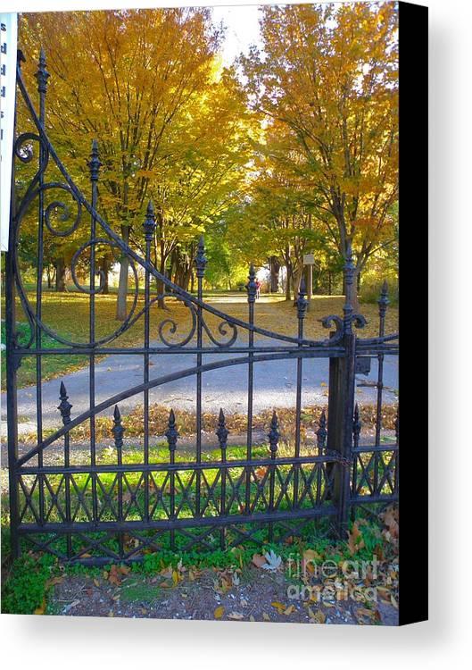 St Louis Missouri Canvas Print featuring the photograph Autumn At The Gates Of Lafayette Park Portrait by Debbie Fenelon