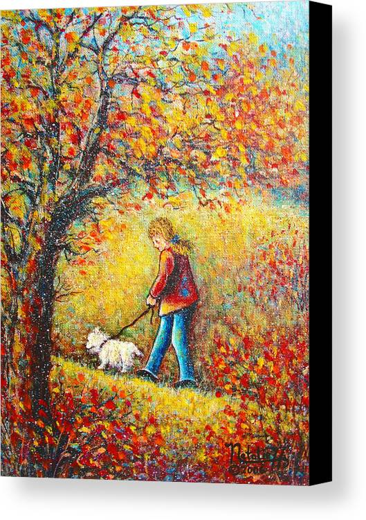 Landscape Canvas Print featuring the painting Autumn Walk by Natalie Holland