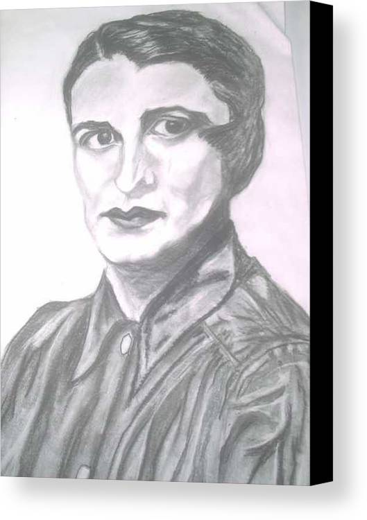 Ayn Rand Canvas Print featuring the painting Ayn Rand by Nancy Caccioppo