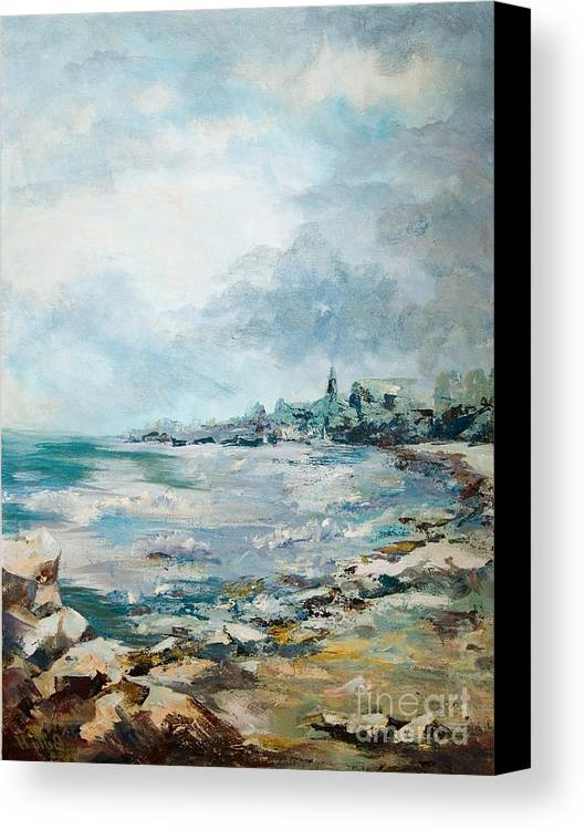 Seascape Canvas Print featuring the painting Before The Storm by Elisabeta Hermann