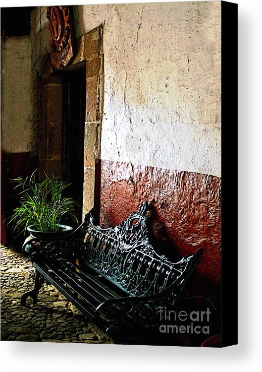 Patzcuaro Canvas Print featuring the photograph Bench In The Darkened Foyer by Mexicolors Art Photography