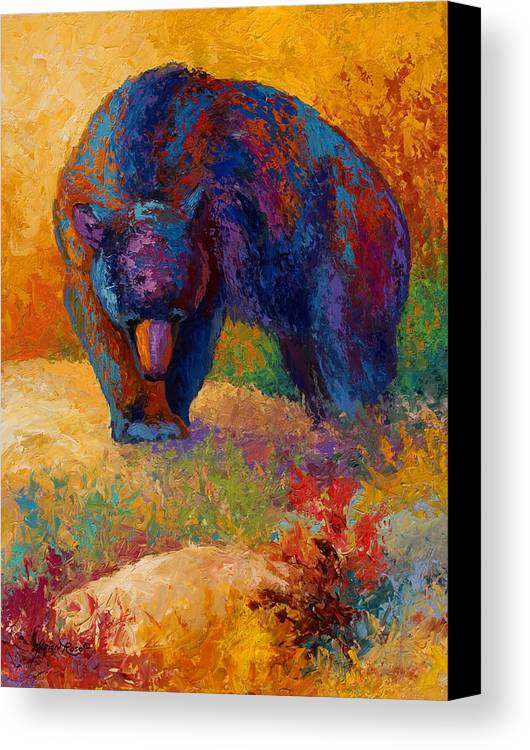 Bear Canvas Print featuring the painting Berry Hunting by Marion Rose