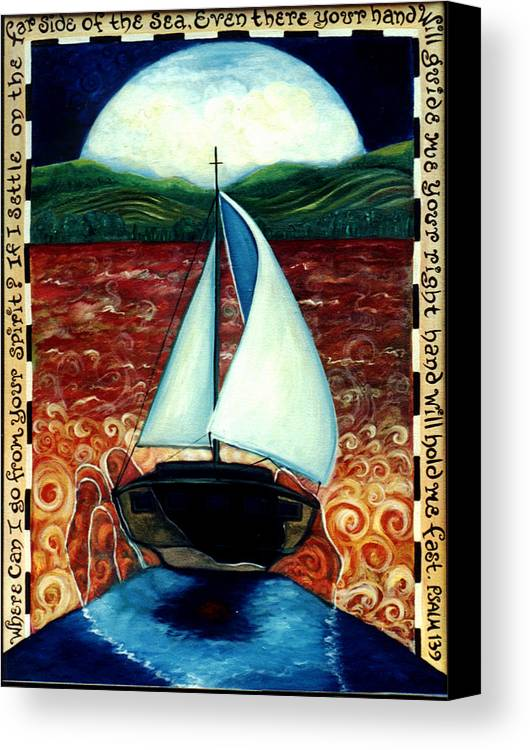 Sailboat Canvas Print featuring the painting Beyond These Shores by Teresa Carter