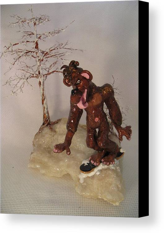 Metal Tree Canvas Print featuring the sculpture Bigfoot On Crystal by Judy Byington