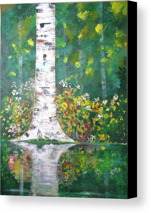 Water Canvas Print featuring the Birch In Flowers by Gary Smith