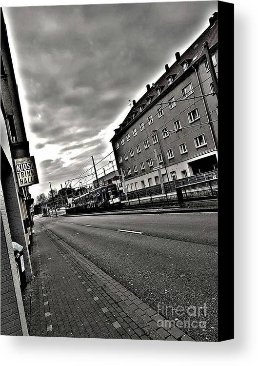 Black Canvas Print featuring the photograph Black And White Lonely Road by Radoslav Radev