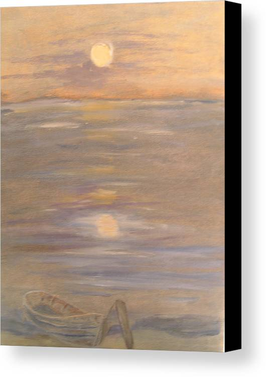 Boat Canvas Print featuring the painting Blue Boat by Patricia Caldwell
