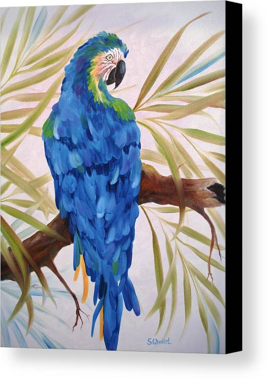 Wild Animal Exotic Bird Blue Macaw Tropical Canvas Print featuring the painting Blue Macaw by Sherry Winkler