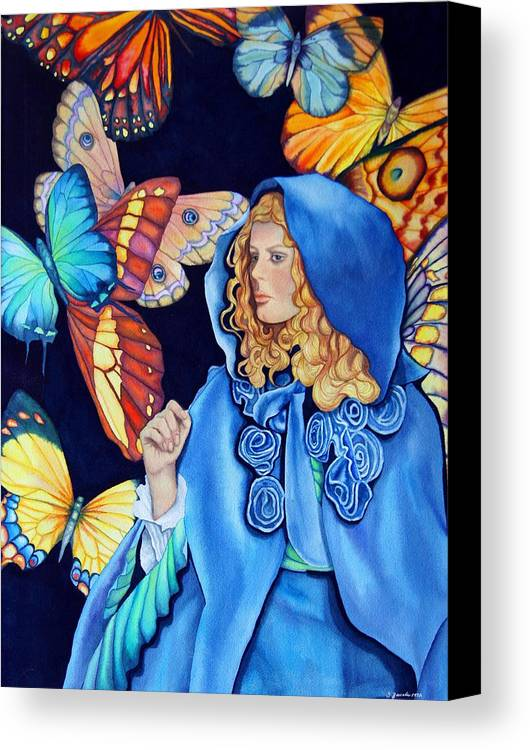 Woman/butterflies/fantasy Canvas Print featuring the painting Blue Riding Hood by Gail Zavala
