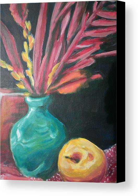 Canvas Print featuring the painting Blue Vase With Red by Aleksandra Buha