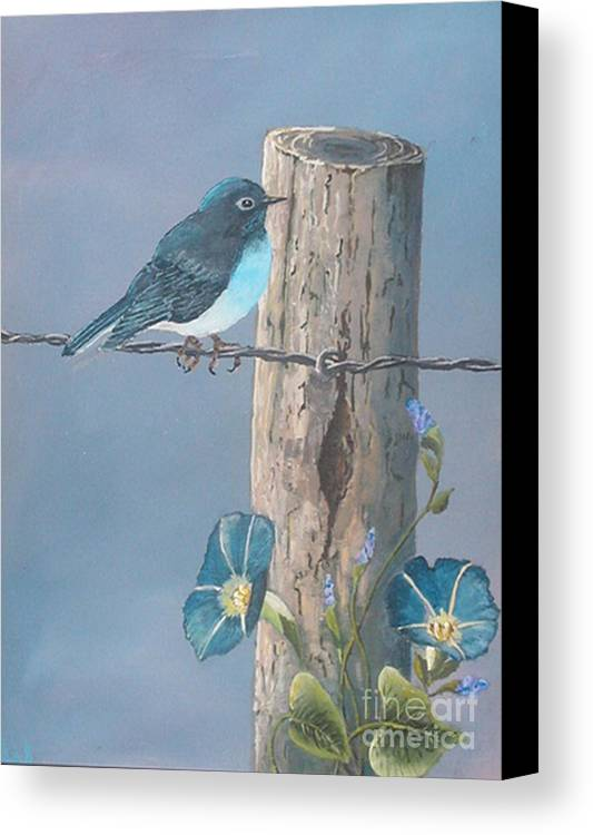 Bluebird Canvas Print featuring the painting Bluebird by John Wise