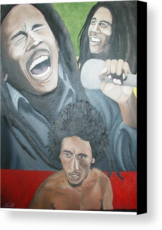 Portrait Canvas Print featuring the painting Bob Marley Montage by Angelo Thomas