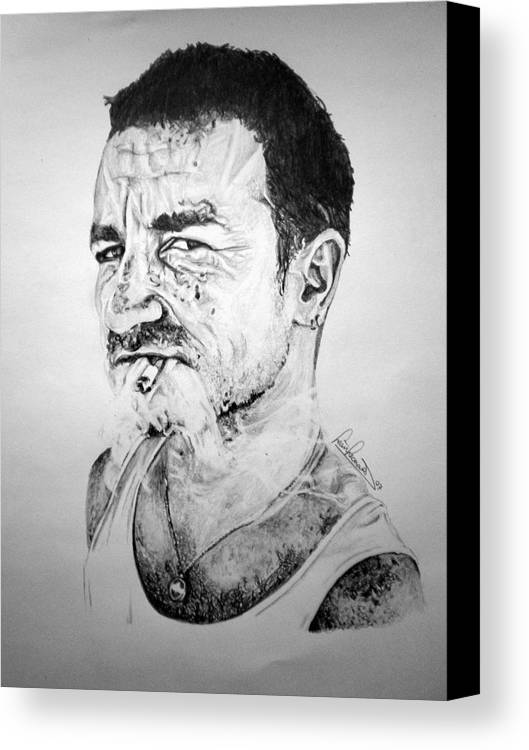 Celeb Portraits Canvas Print featuring the drawing Bono by Sean Leonard