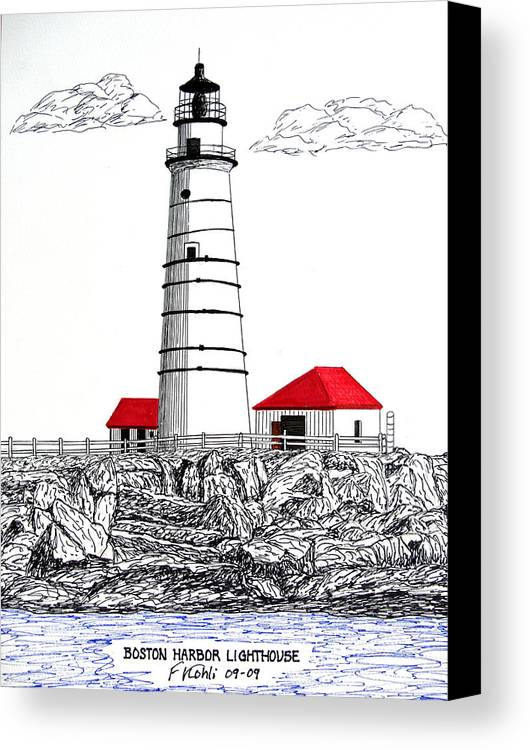 Lighthouse Artwork Canvas Print featuring the drawing Boston Harbor Lighthouse Dwg by Frederic Kohli