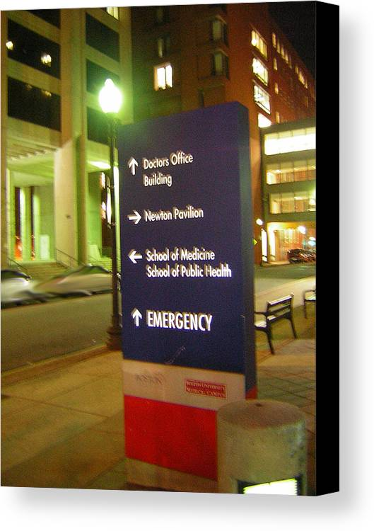 Boston Medical Center. Hospital Canvas Print featuring the photograph Boston Medical At Night by Heather Weikel