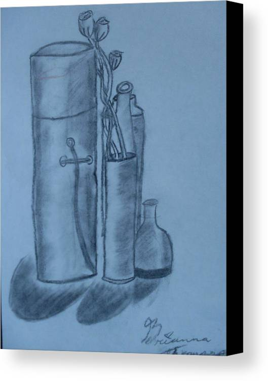 Charcoal Bottles Still Life Canvas Print featuring the drawing Bottles And Shadows by Brianna Emily Thompson