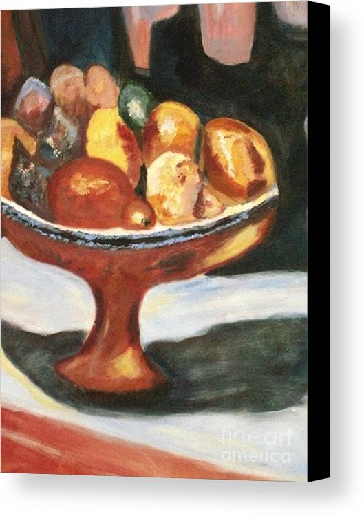 Fruitbowl Canvas Print featuring the painting Bowl Of Passion by Helena Bebirian