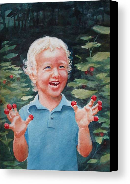 Boy Canvas Print featuring the painting Boy With Raspberries by Marilyn Jacobson