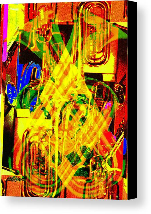 Festive Canvas Print featuring the digital art Brass Attack by Seth Weaver