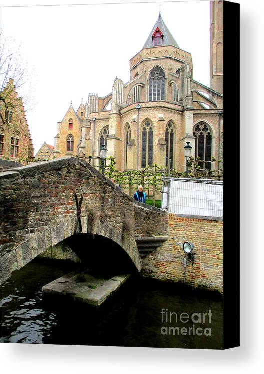 Bruges Canvas Print featuring the photograph Bruges Bridge 4 by Randall Weidner