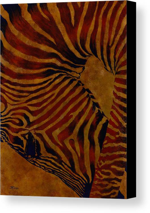 Zebra Canvas Print featuring the painting Buckin' Wild by Beth A Doellefeld