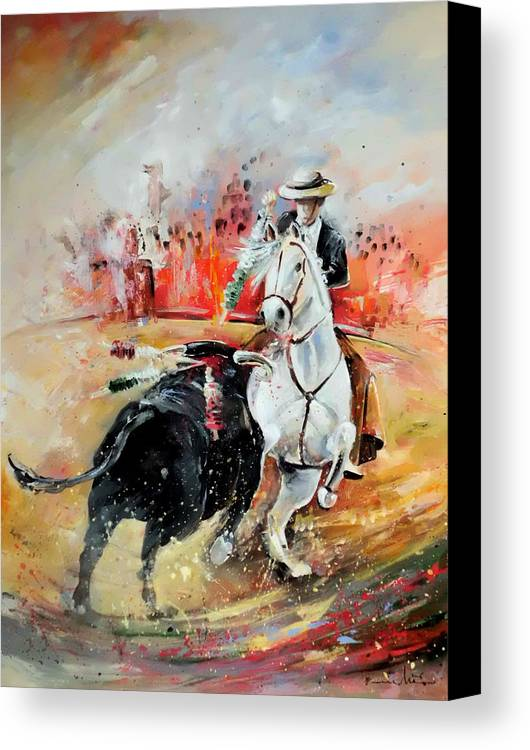 Toros Canvas Print featuring the painting Bullfight 3 by Miki De Goodaboom