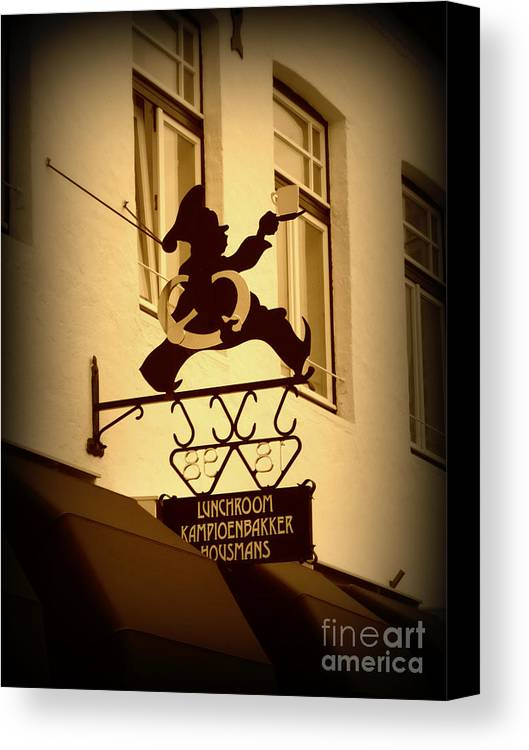 Sign Canvas Print featuring the photograph Cafe Sign In Holland by Carol Groenen
