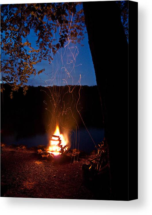 Campfire Canvas Print featuring the photograph Campfire At Dusk by Jim DeLillo