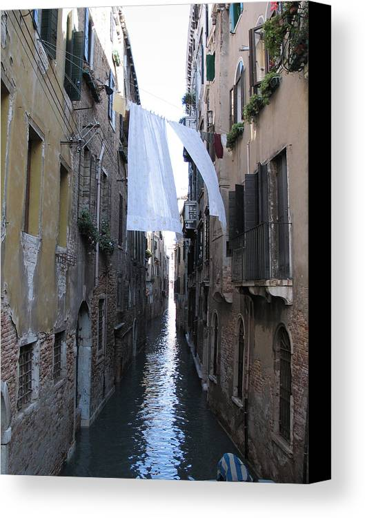 Canal Canvas Print featuring the photograph Canal. Venice by Bernard Jaubert