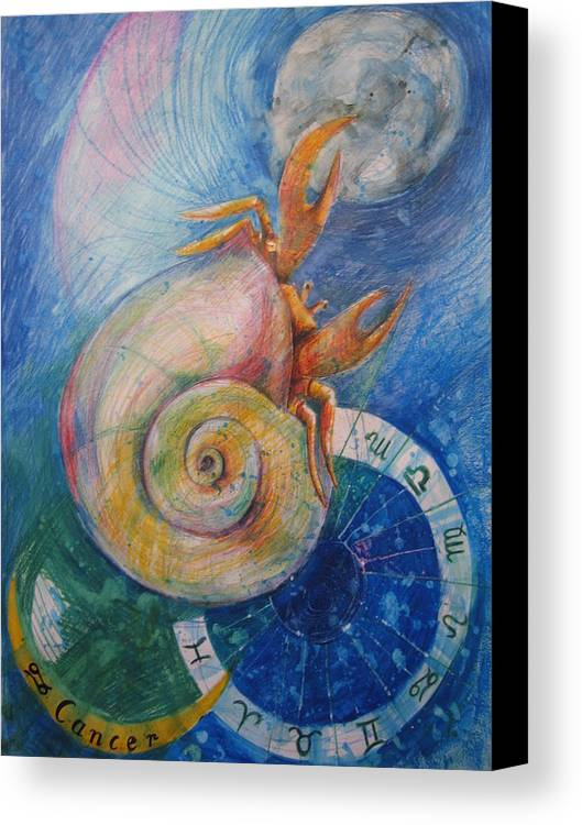 Drawing Canvas Print featuring the drawing Cancer by Brigitte Hintner