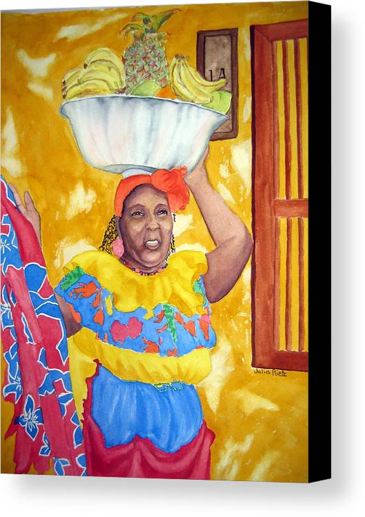 Cartagena Canvas Print featuring the painting Cartagena Peddler II by Julia RIETZ