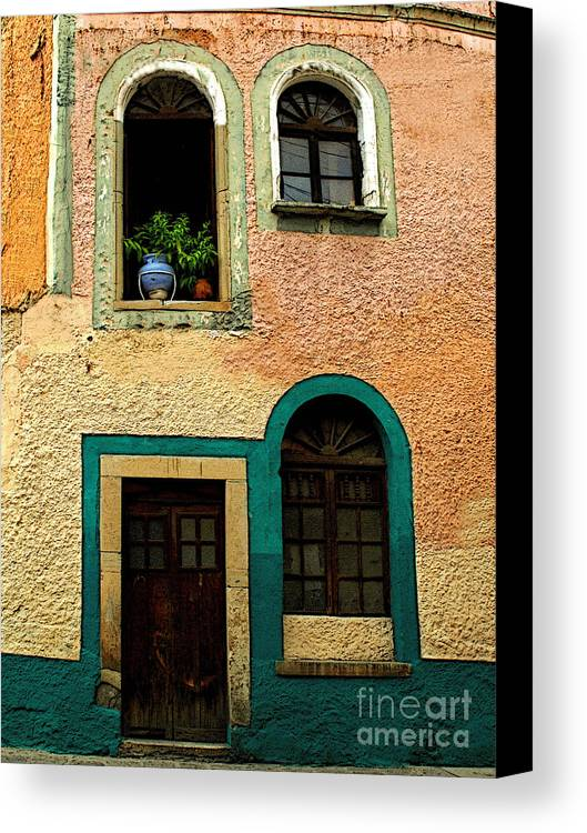 Darian Day Canvas Print featuring the photograph Casa With Sea Green by Mexicolors Art Photography