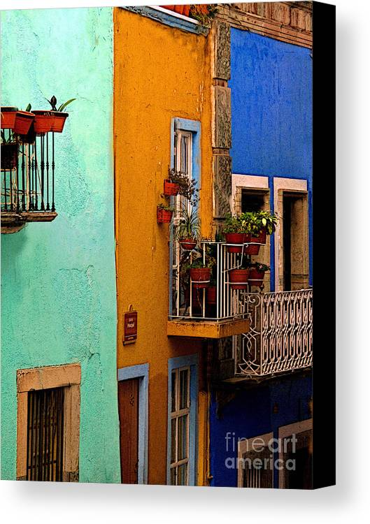 Darian Day Canvas Print featuring the photograph Casas In Mint Terracotta And Blue by Mexicolors Art Photography