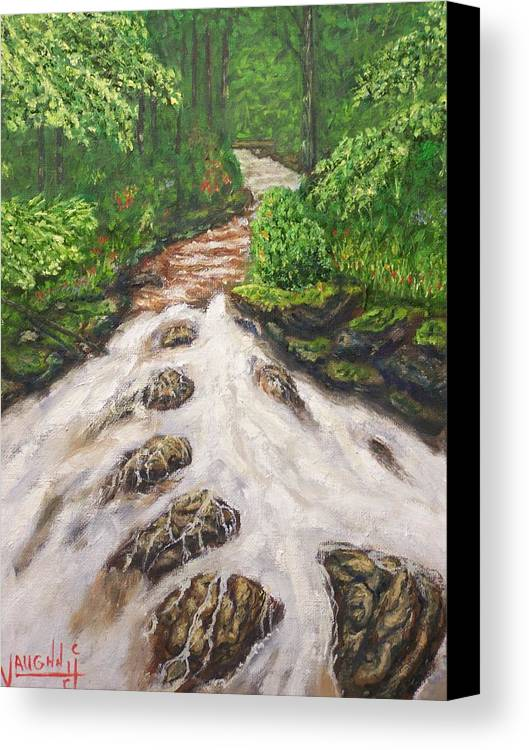 Water Land Scape Canvas Print featuring the painting Cascading Stream by Charles Vaughn